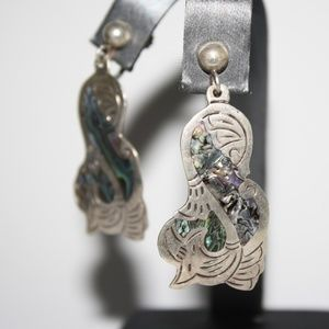 Vintage sterling silver abalone screw on earrings